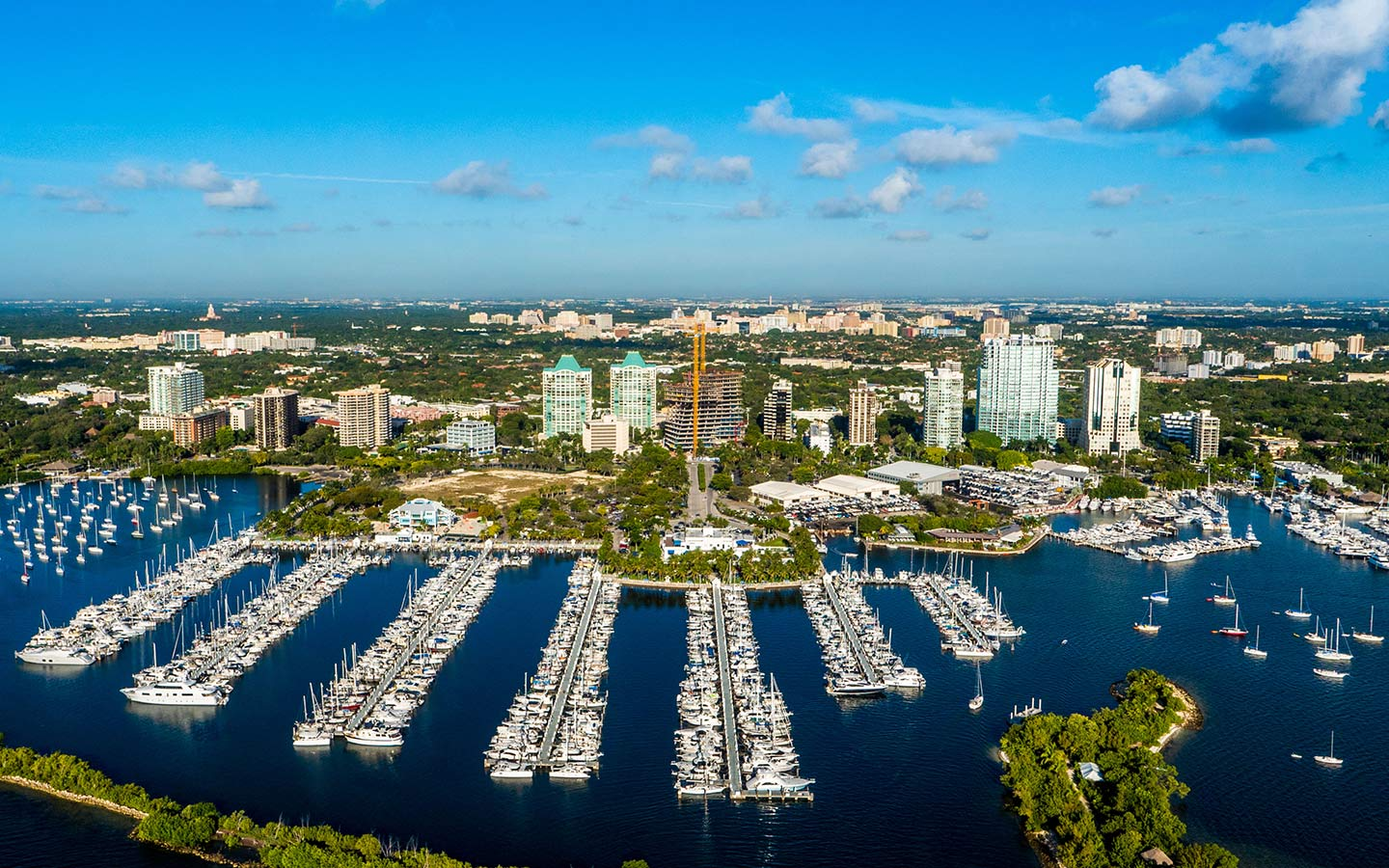 Aerial view of Coconut Grove Marina